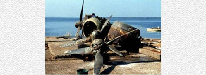 World War Two airplane that has been recovered from the ocean