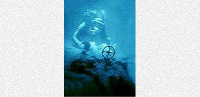 A diver photographing a submerged engine