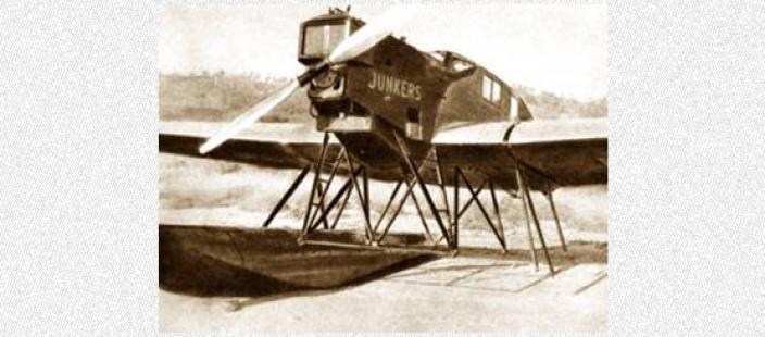 World War Two airplane in landing at a remote airstrip