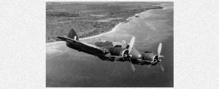 World War Two airplane in mid-flight