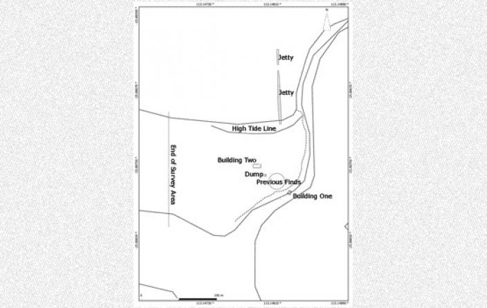 Drawing of the major features of the camp at Quion Bluff