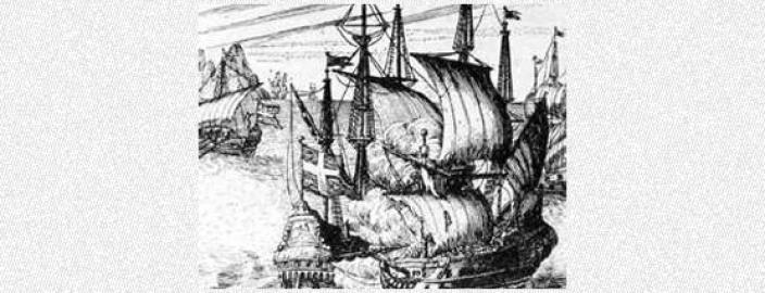 Woodcut drawing of pirates attacking a Spanish ship