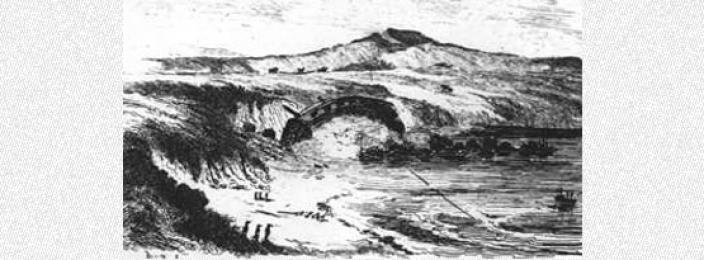 Drawing depicting the break-up of L'Uranie near the shoreline