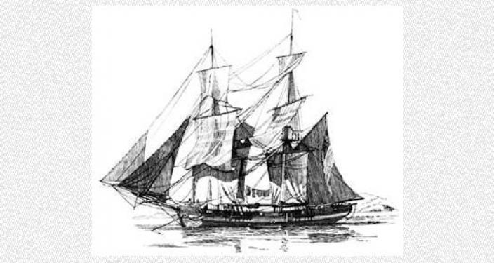 Hand drawn illustration of sail ship