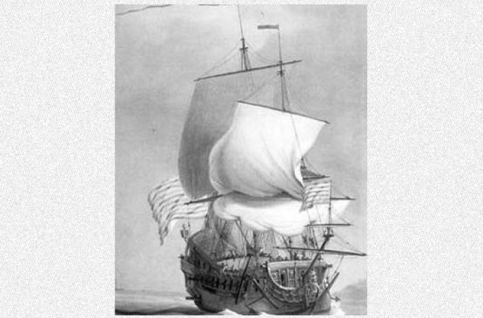 The Roebuck in full sail