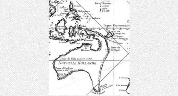 Hand drawn map depicting Dampier's exploration of the Indian Ocean