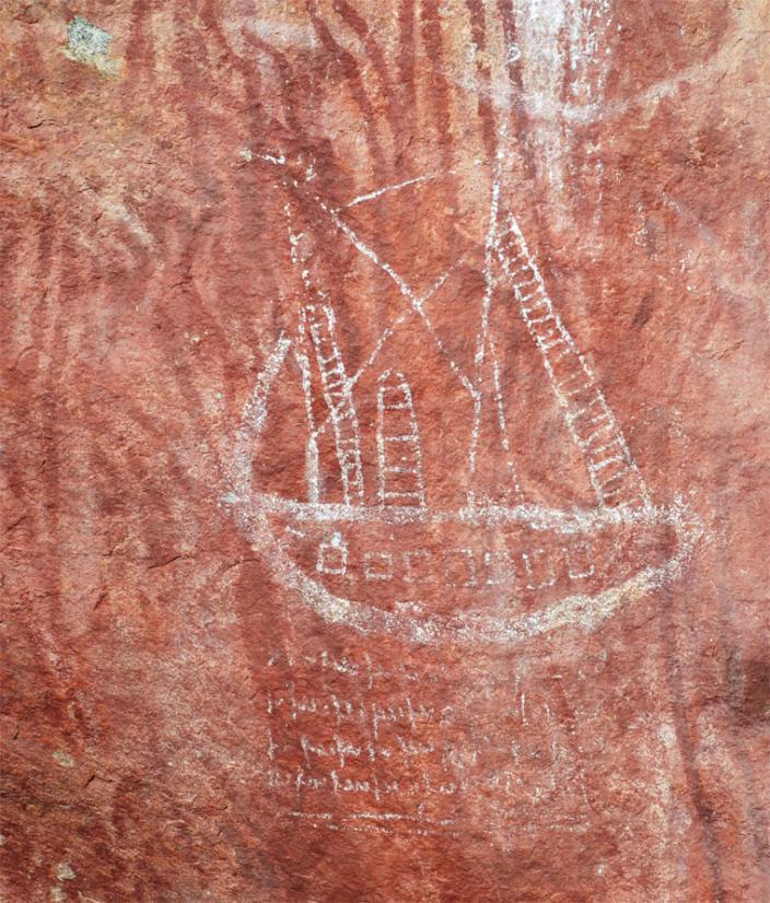 Rock art image of a ship