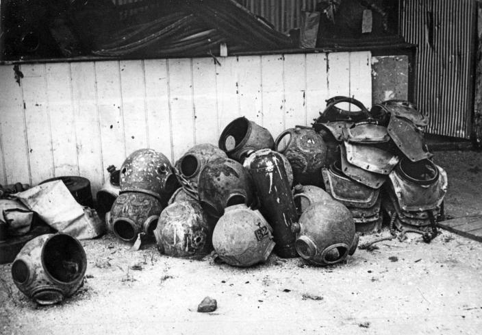 Image of a pile of diving helmets