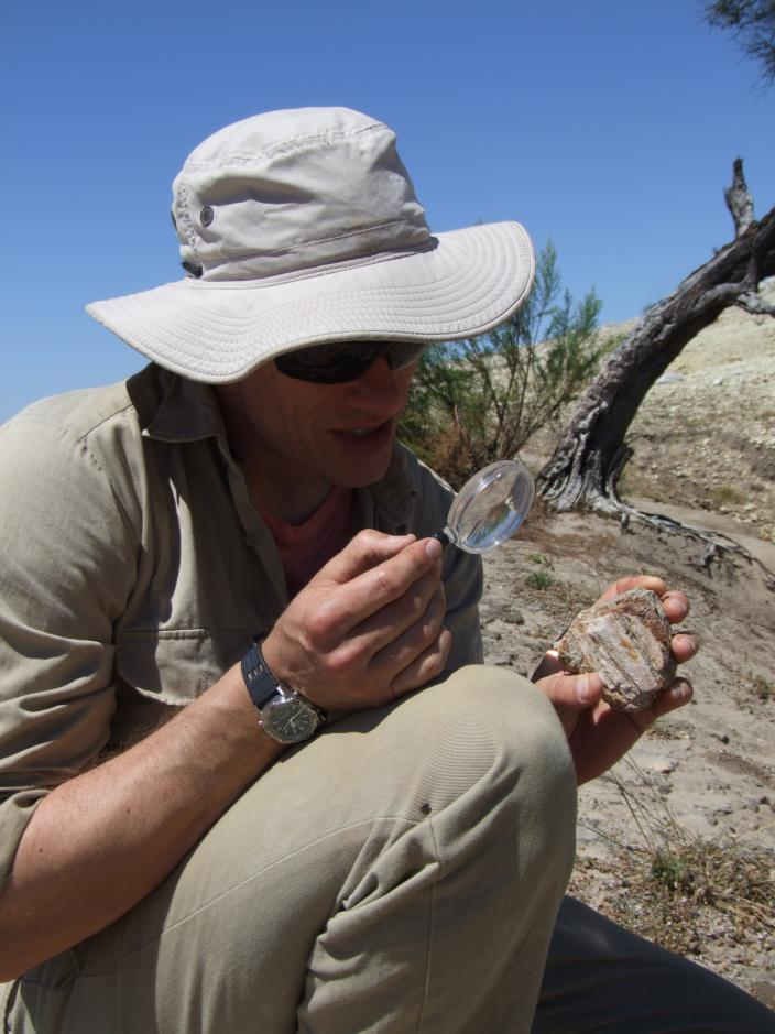 Image of Dr Siversson examining a fossil fragment