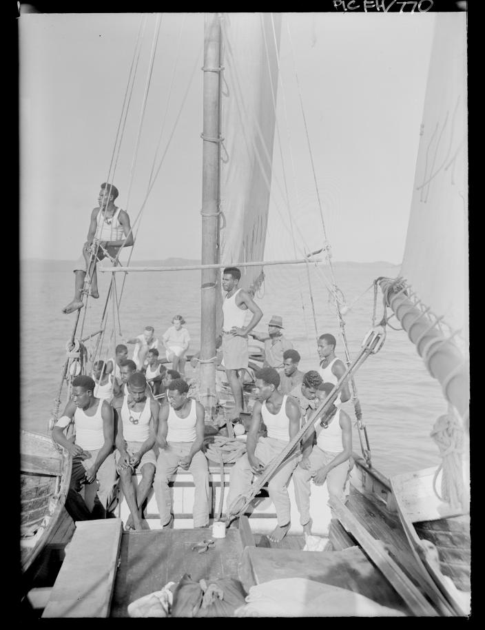 A group of people on a boat.