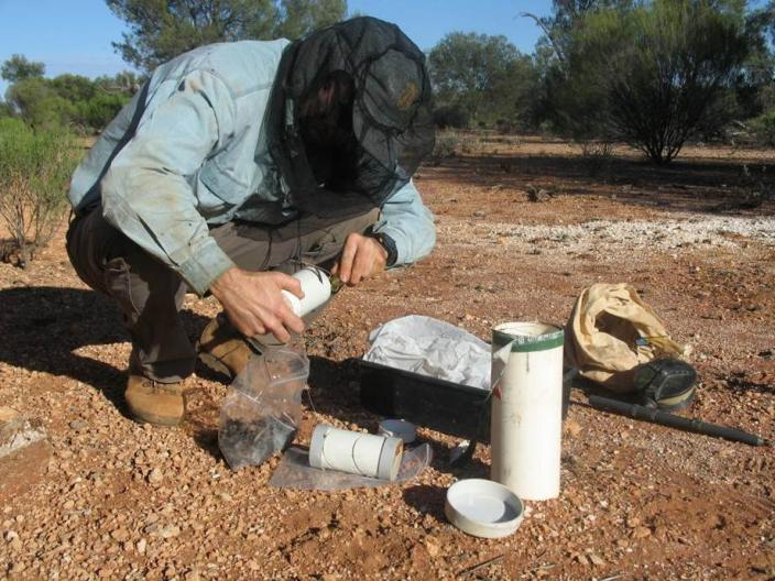 Man crouched beside a borehole