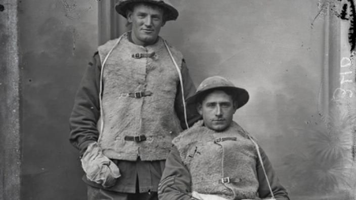 Two World War I soldiers posing for a photograph