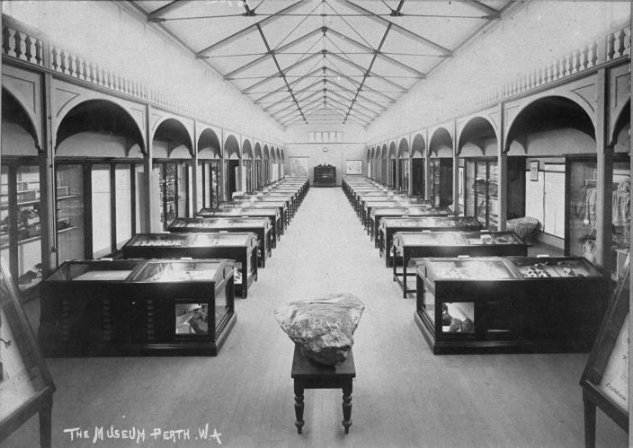Image of the main gallery at the Western Australian Museum circa 1890.