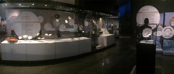 Showcases in the Lustre exhibition in WA Museum Maritime