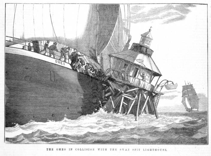The Omeo in collision with the Swan Spit Lighthouse, 1881