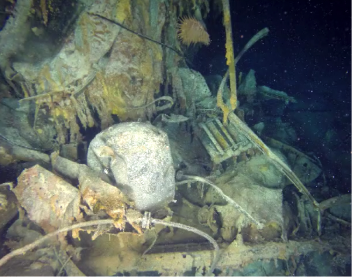 An unexploded mine on the  Kormoran.