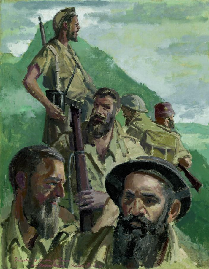A painting by war artist Charles Bush of a 2/2nd Independent Company headquarter