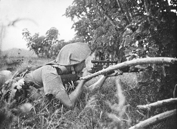 A sniper in action.