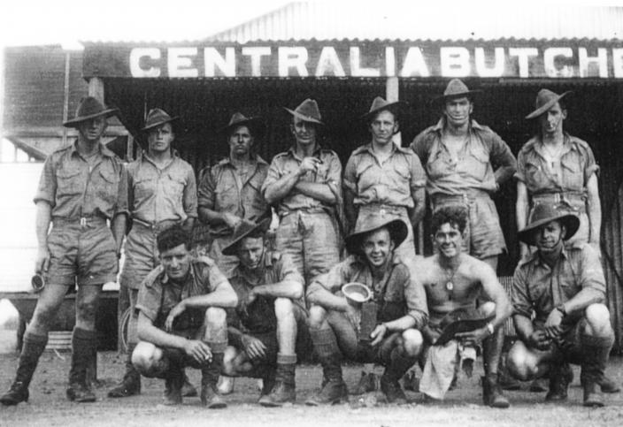 Some members of the ill fated No 7 Section in Tennant Creek on route to Darwin.