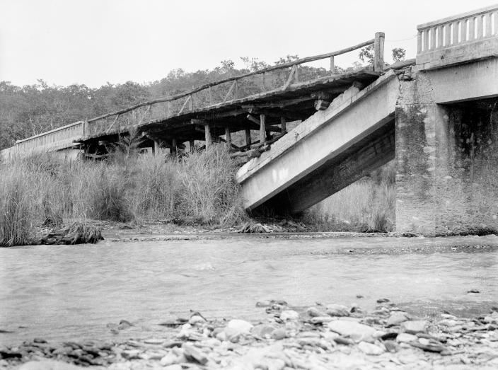The Glano Bridge destroyed by the No 2 Independent Company's engineer section du