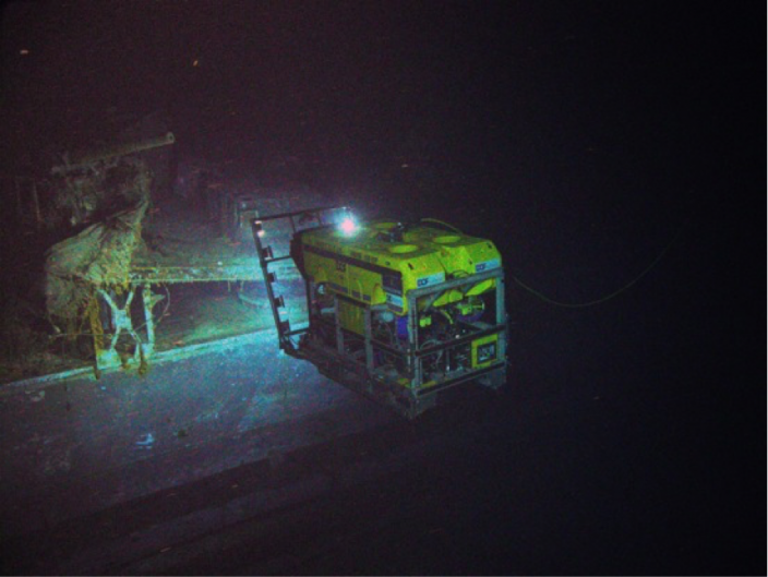 An ROV filming the HMAS Sydney anti aircraft gundeck and torpedo launching mount