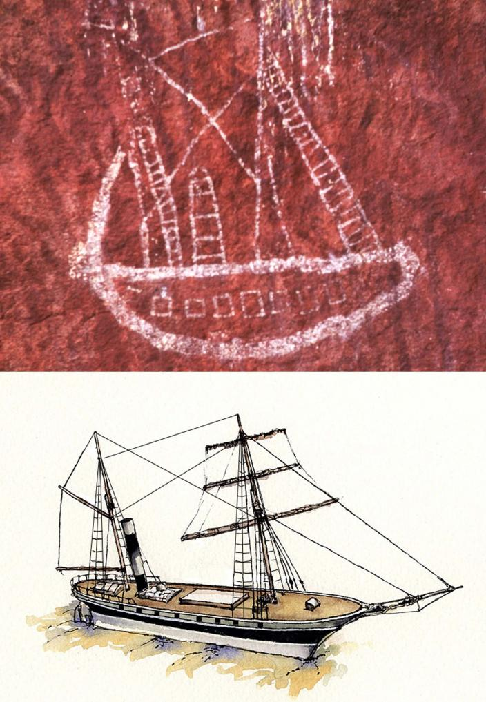 Water Colour depicting Xantho with false gunports (Ian Warne) compared with the