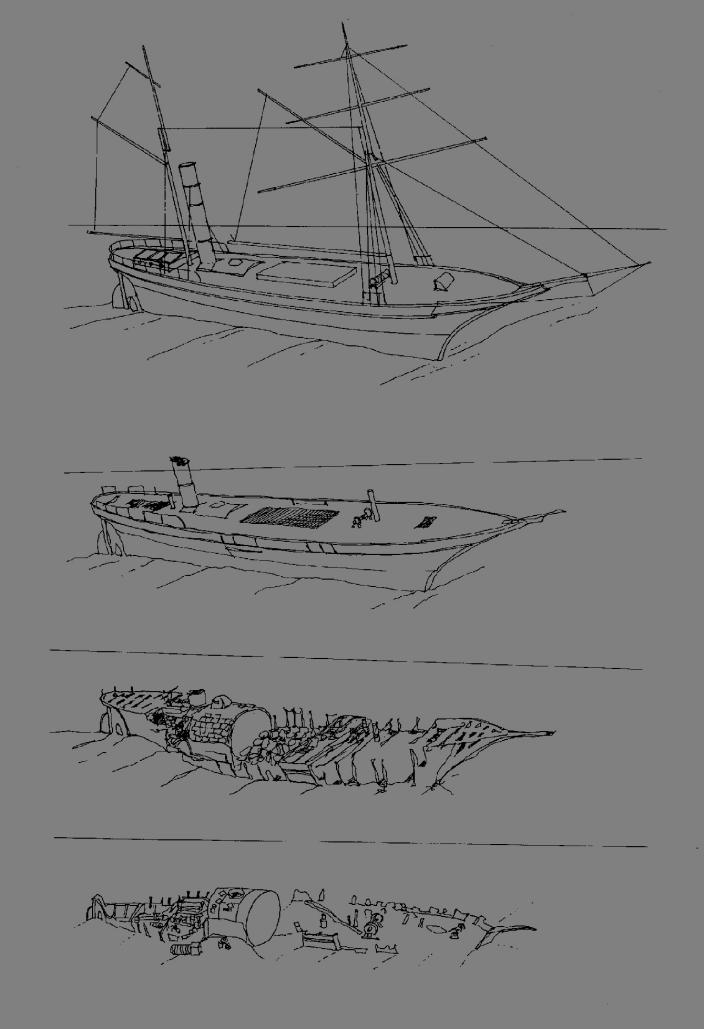 Artist Ian Warne's impressions showing how the wreck had disintegrated over the