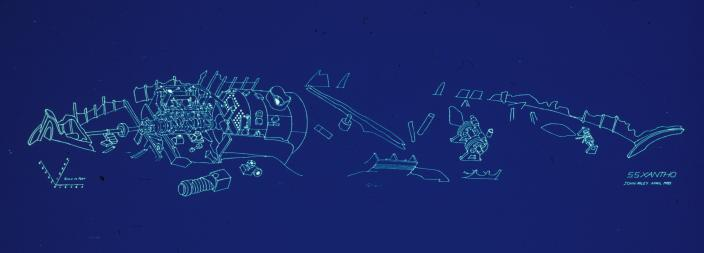 An isometric projection of the Xantho wreck