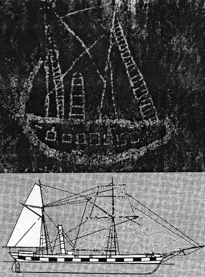 The Walga Rock painting and the archaeologist's impression of SS Xantho compared