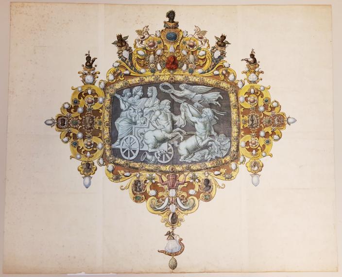 Hand-coloured print ca. 1765 by Simon Fokke, cameo