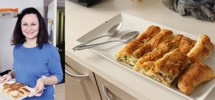 Woman holds a plate of food, image to left shows food on plate