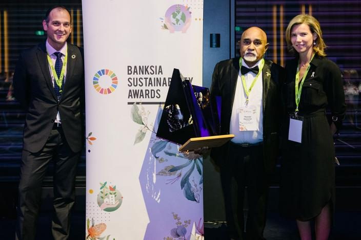 Thomas receiving his 2019 Banksia Award