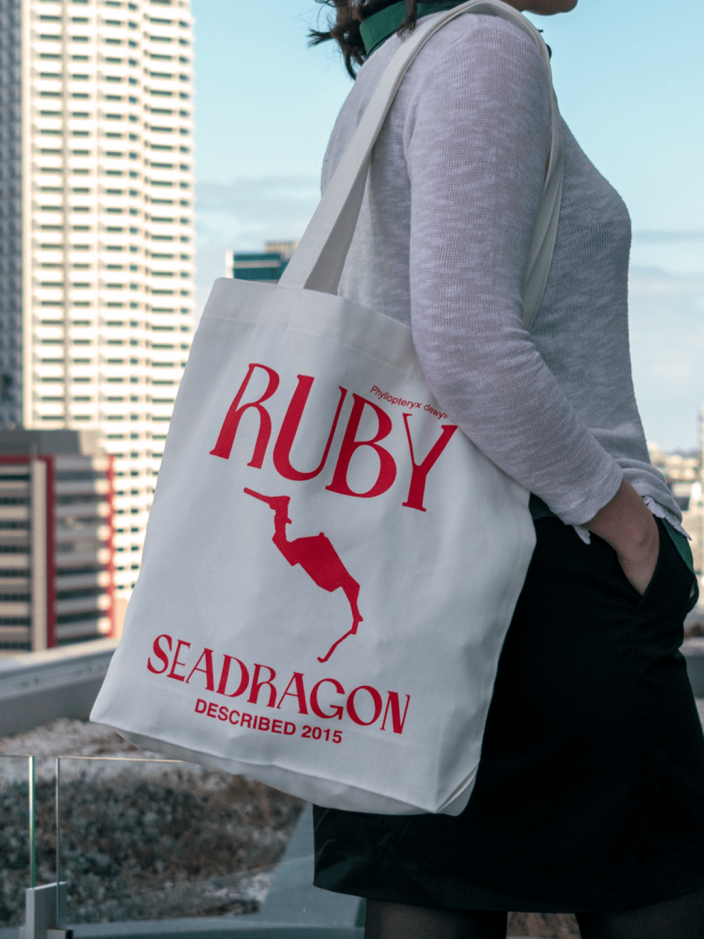A canvas bag with the words Ruby Seadragon in a sweet typeface.