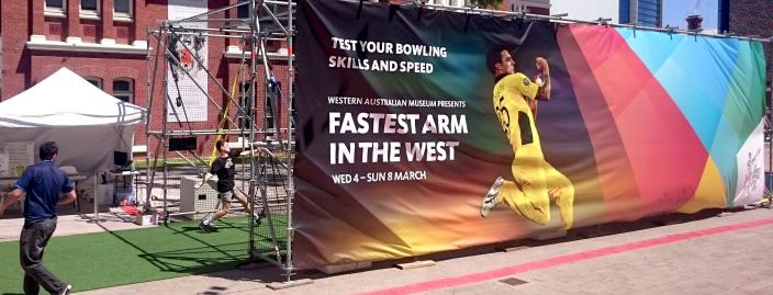 Boy bowling at Fastest Arm in the West
