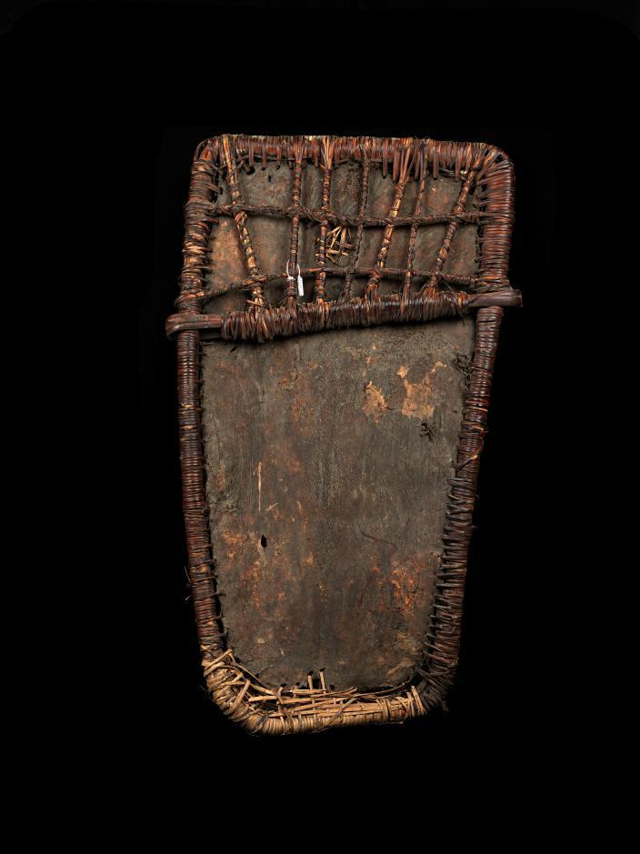 A Pig skin shield with a rattan Framework.