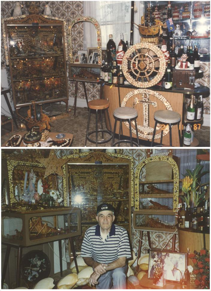 Florencio and his museum in the late 1980s.