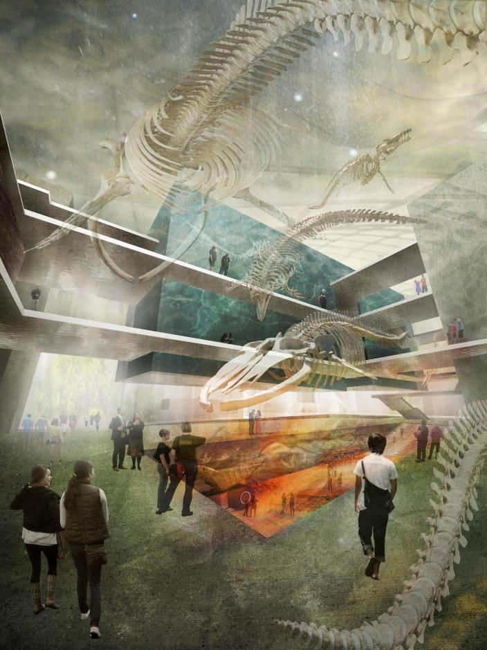 Artists impression of foyer space with whales