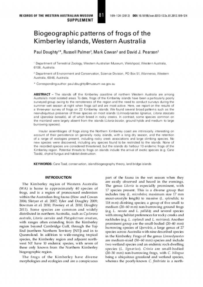 Biogeographic Patterns On Kimberley Islands Western Australia