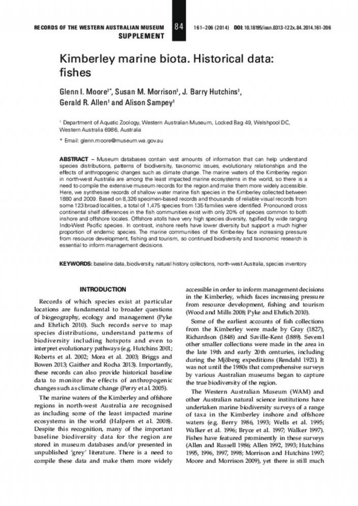 Kimberley marine biota  Historical data: fishes | Western
