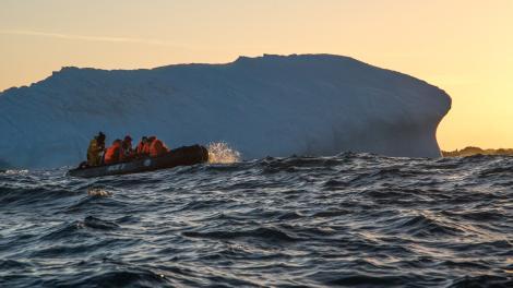 Image of Zodiac near South Sandwich Islands, Antarctica
