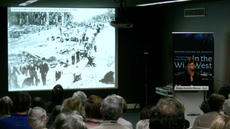 Ann Delroy presents her lecture to an audience