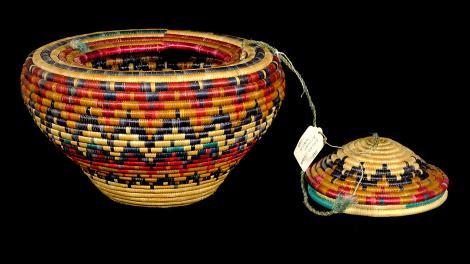 A basket coiled in a half-diamond design.