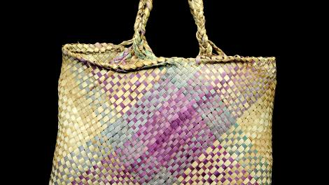 A subtle yet elegant pandanus palm handbag from New Hebrides