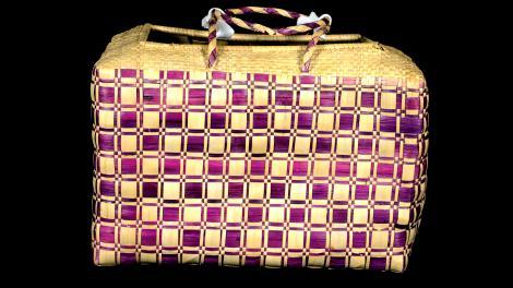 A rectangular basket with an open top.