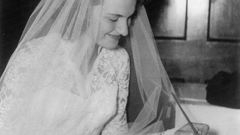 Wedding photo of Mrs Giles from her wedding in 1956
