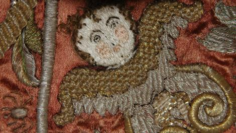 Close up view of a conserved fabric