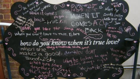 Chalkboard messages about visitors' reaction to the exhibition Unveiled