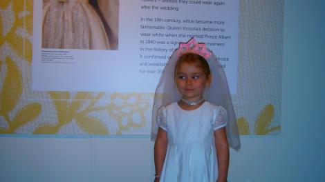 3 year old Sophia dressed as a bride