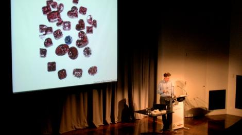 Peter Downes presenting a talk with an image of diamonds on the presentation screen