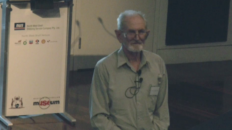 Harry Butler presenting a lecture